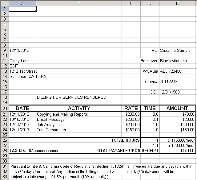 convergence manual | invoicing, Invoice examples